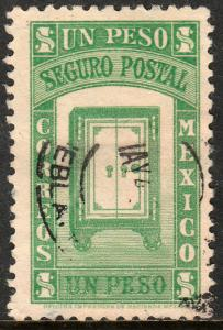 MEXICO G6, $1PESO INSURED LETTER. USED. F-VF (1056)