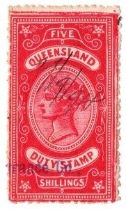 (I.B) Australia - Queensland Revenue : Stamp Duty 5/-