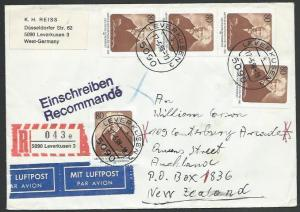 GERMANY 1988 Registered airmail cover to New Zealand - nice franking.......11281