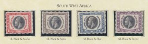 SOUTH WEST AFRICA, 1935 Silver Jubilee set of 4, mnh,/lhm./heavy hinged.