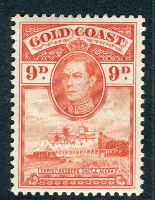 GOLD COAST;  1938 early GVI issue fine Mint hinged 9d. value