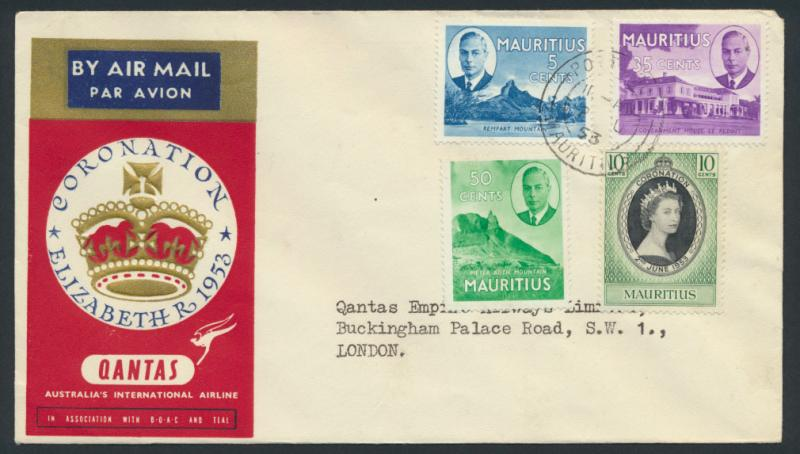 1953 Qantas FFCover - Mauritius to London AAMC 1318a SPECIAL see details