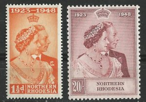 Northern Rhodesia # 48-49  Geo.VI Silver Wedding  (2)  Unused VLH