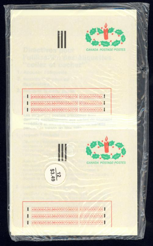Canada Experimental Label Sc#1-ST MNH Pack/12 (SEALED) 1983 Stick 'n Tic