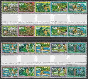 Niue #222-31 Gutter Pairs F-VF Mint NH ** Activities