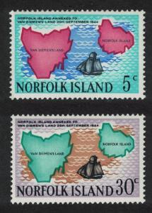 Norfolk Annexation to Van Diemen's Land 2v SG#100-101 SC#123-124