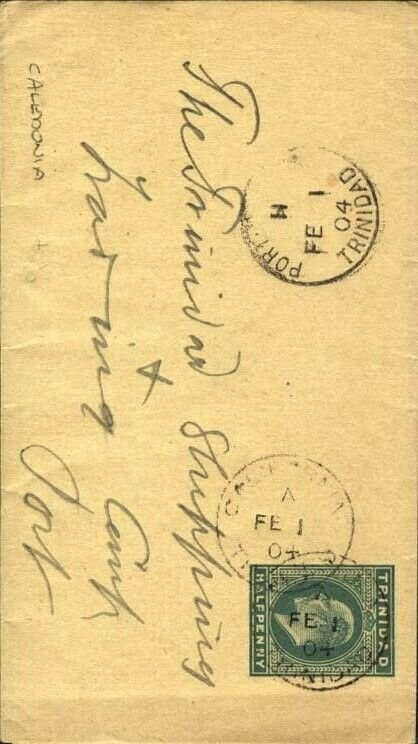TRINIDAD 1904 ½d newspaper wrapper - CALEDONIA cds to Port of Spain........91812