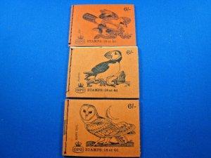 GREAT BRITAIN 1969 COMPLETE MNH STAMP BOOKLETS -  6/ - LOT OF 3    (kbgbbk7)