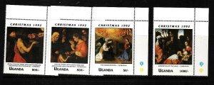 Uganda-Sc#1088//95-unused NH 1/2 set-Paintings=Christmas-Zurbaran-1992-