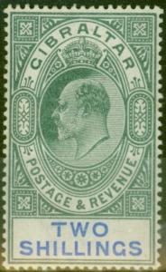 Gibraltar 1903 2s Green & Blue SG52 Fine & Fresh Mtd Mint (2)