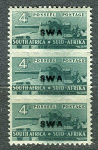 SOUTH WEST AFRICA; 1941 early Small War Effort issue 4d. Mint strip
