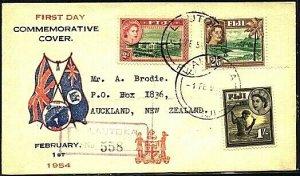 FIJI 1954 2d, 1/- & 2/6d definitives on commem FDC ex Lautoka..............19806