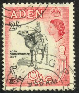 ADEN 1953-59 QE2 2sh CAMEL AND RIDER Pictorial Sc 57A VFU
