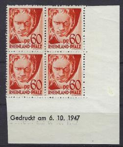 Germany - under French occupation Scott # 6N12; mint nh, b/4, var print date