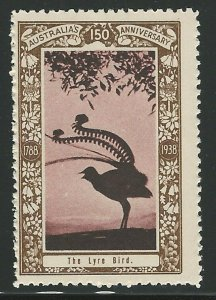 The Lyre Bird, Australia, 1938 Poster Stamp, Cinderella Label
