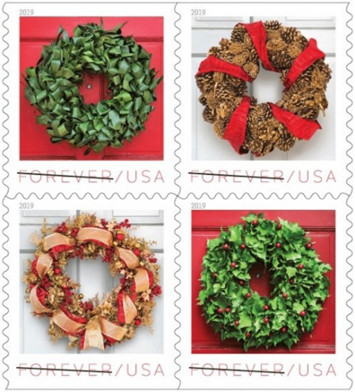 5424-27 (5427a) Holiday Wreaths Block Of 4 M/nh FREE SHIPPING