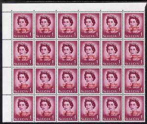 St Lucia 1967 unissued 1c with Statehood overprint in red...
