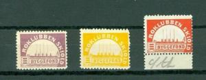 Denmark. 3 Poster Stamp Mnh. +_ 1905  The Row Club  Skjold Building Fund