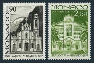 Monaco 1571-1572,MNH.Michel 1802-1803. St Devote Parish,Monaco Diocese,100,1987.