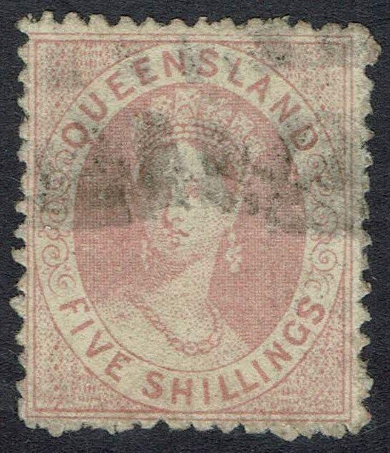 QUEENSLAND 1866 QV CHALON 5/- USED
