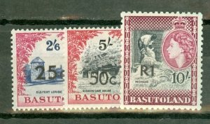 CS: Basutoland 61-3, 64a, 65, 66a, 67, 68a, 69-71 mint CV $47; scan shows a few