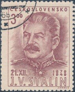 Stamp Czechoslovakia SC 0400 1949 USSR Communist Stalin Birthday Used