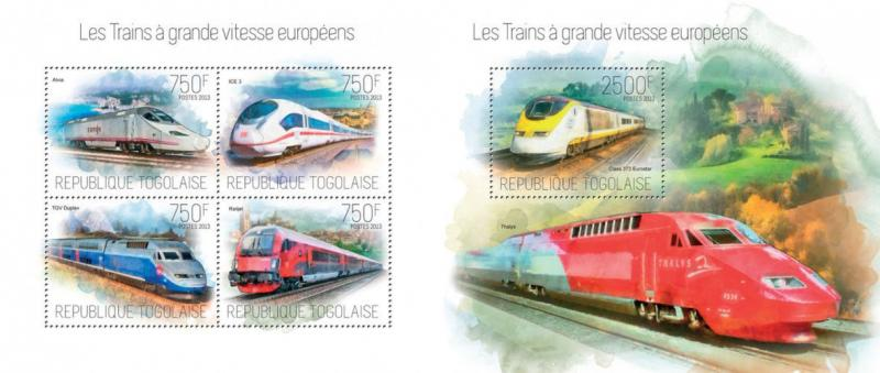 Trains TGV Züge Railways Railroads Locomotives Transport Togo MNH stamp set