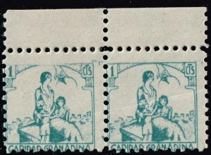 SPAIN STAMP CIVIL WAR 1936 Granada (Provincial Stamp) MNH/OG PAIR CREASE