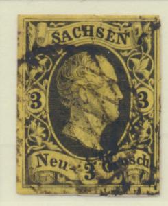 Saxony (German State) Stamp Scott #8, Used, Four Margins - Free U.S. Shipping...