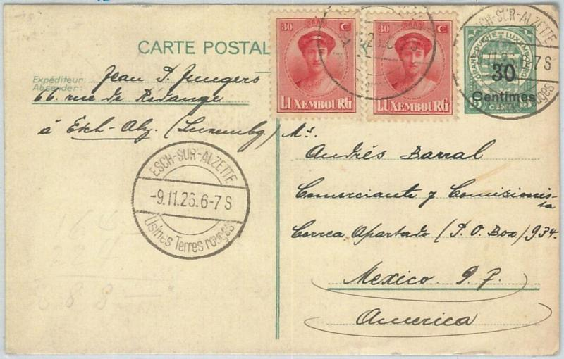 70016 - LUXEMBOURG - POSTAL HISTORY - Postal Stationery Card  to MEXICO ! 1926