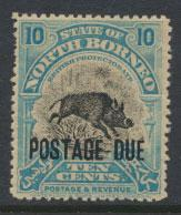 North Borneo SG D63 MH 10c Opt Postage Due  see details and scans