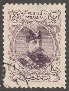 Persian/Iran Stamp,Scott# 357, 1KR, purple, used, HR, #ZP-1