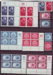 Z200 JLstamps 1956-7  u.n. n.y. mnh inscription blks + sets #47-52, 3 sets