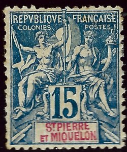 St. Pierre & Miquelon Sc #67 MH F-VF SCV$19...French Colonies are Hot!