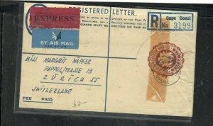 GHANA (P3005B) 1959 6D RLE+ QEII GHANA 22/-X2 REG EXPRESS A/M TO SWITZERLAND