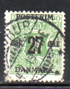 Denmark Sc 148 1918 27 ore overprint on 8 ore newspaper stamp used