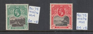 ST HELENA 1912 1/2D AND 1D MINT SG72 AND SG73