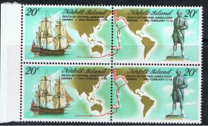 NORFOLK ISLAND 1979 BICENTENARY OF CAPT COOKS DEATH - JOINED PAIRS
