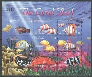 PK092 MICRONESIA MARINE LIFE FISH CORAL REEF 1KВ MNH STAMPS