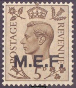 1943 British Occupied Middle East Forces 5d M.E.F., SG M15, MH