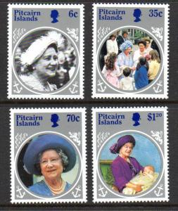 Pitcairn Islands Sc 253-56 1985 85th Birthday Queen Mother stamp set mint NH