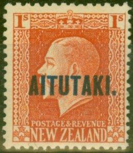 Aitutaki 1917 1s Vermilion SG18a P.14 x 14.5 Fine Mtd Mint
