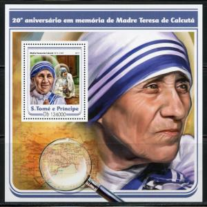 SAO TOME 2017 20th MEMORIAL ANNIVERSARY OF MOTHER TERESA  SOUVENIR SHEET MINT NH