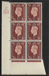 1937 1½d Brown Dark colours C38 68 Dot perf 5(E/I) block 6 UNMOUNTED MINT