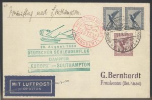 Germany 1933 Europa Southampton 29.8.1933 Catapult Cover Airmail Cachet H 103308