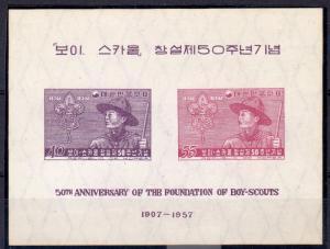Korea 1957 Mi#Bl.109 BOY SCOUTS 50th.ANNIVERSARY Souvenir Sheet