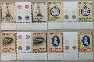 Ascension 1979 Captain Cook in gutter pairs, MNH. Scott 235-238, CV $3.70+