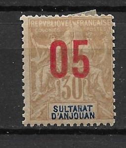 Anjouan 25 1912 5c on 30c Unused Hinged (z2)