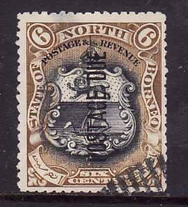North Borneo-Sc#J15-used 6c  olive brown & black postage due-1901-