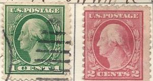 US # 498-499  1c & 2c  Washington (U) CV $0.50